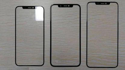 Paneles de los supuestos tres nuevos modelos de iPhone, según filtraciones de la cadena de producción