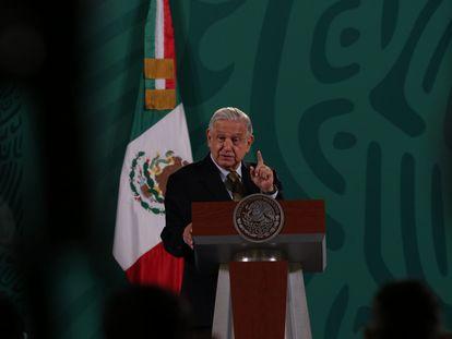 El presidente Andrés Manuel López Obrador, en una conferencia de prensa.