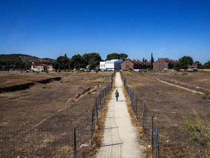 Camino abierto sobre el yacimiento visigodo de la Vega Baja.