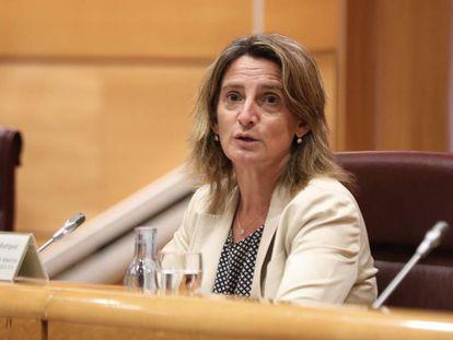 La vicepresidenta tercera y ministra para la Transición Ecológica, Teresa Ribera, en el Senado.