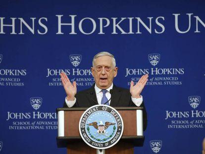 Mattis durante la presentación de la estrategia, este viernes en una universidad de Washington.