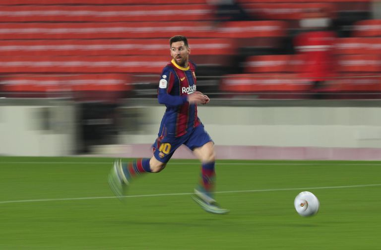Messi, during the last Barcelona match.