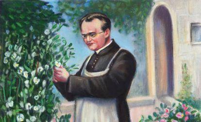 Mendel en un jardín cogiendo guisantes para sus experimentos, recreado en un cuadro.