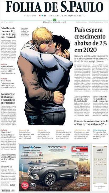 Portada de 'Folha de Sao Paulo' con la imagen de los superhéroes besándose.