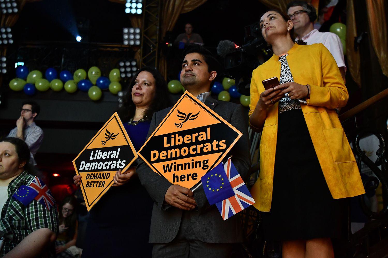 Acto de campaña del Partido Liberal Demócrata de Reino Unido, en mayo de 2019.