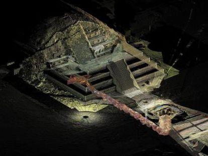 Vista con escáner del túnel excavado en Teotihuacán