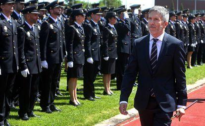 El ministro de interior Fernando Grande Marlaska en el acto de graduación de 1200 policías nacionales en Ávila.