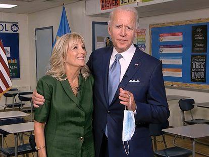 Jill y Joe Biden, tras su intervención en la convención el martes.