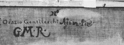 Inscripción en el reverso de la tela, hoy oculta por una tela de reentelado. La fotografía se publicó en el artículo publicado por Stephem Pepper en 'The Burlington Magazine', en mayo de 1984. Cortesía del Museo de Bellas Artes de Bilbao.