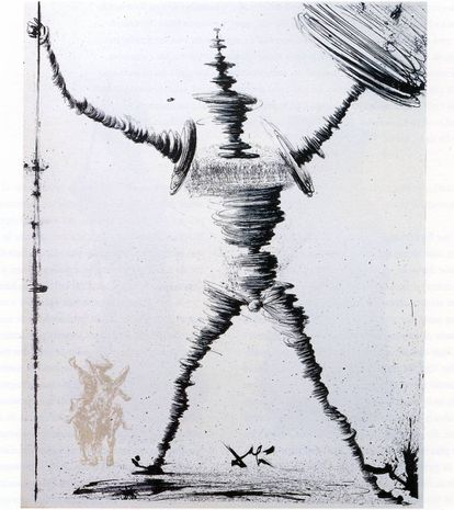 Lámina de Salvador Dalí sobre Don Quijote.