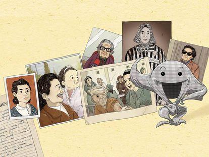 Dibujos de la biografía ilustrada de Neus Català para niños que ultima la editorial Tigre de Paper.