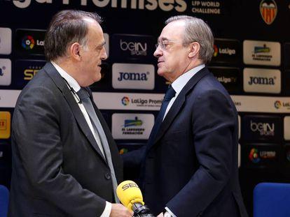 Javier Tebas, junto a Florentino Pérez, en la Cadena Ser. / Jesús Álvarez