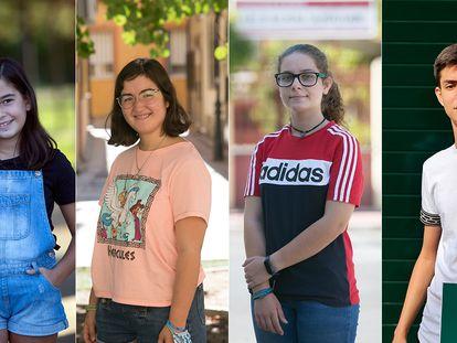 De izquierda a derecha, Lara (11 años), Raquel (16), María (13) y Víctor (17)