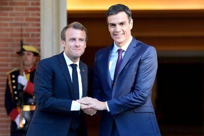 Pedro Sánchez, este jueves, en Moncloa, con Emmanuel Macron.