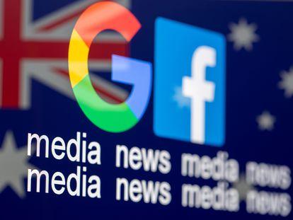 Los logos de Google y Facebook sobre una bandera australiana.