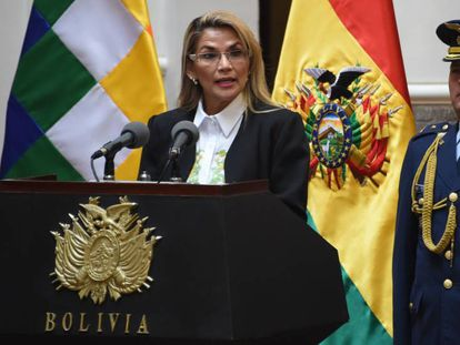 La presidenta interina de Bolivia, Jeanine Áñez, en La Paz.