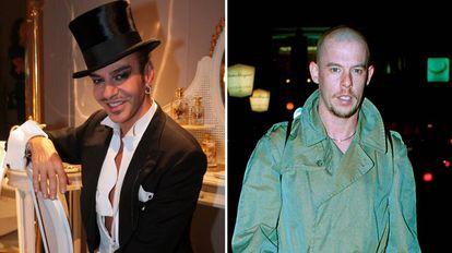 De izquierda a derecha: los diseñadores John Galiano y Alexander McQueen.