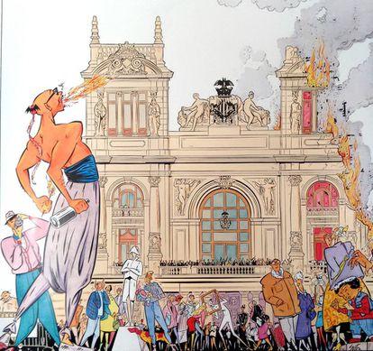 Dibujo de la falla municipal de Sento Llobell, según una idea de Manuel Vicent.