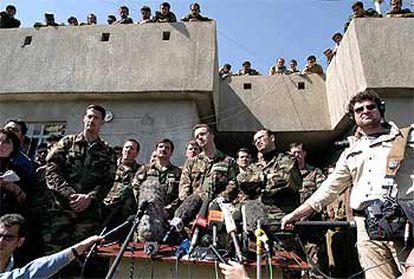 Miembros de las Fuerzas Especiales de EE UU, durante una rueda de prensa en el Kurdistán iraquí.