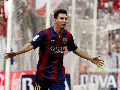 Messi, en un partido de Liga con el Barça.