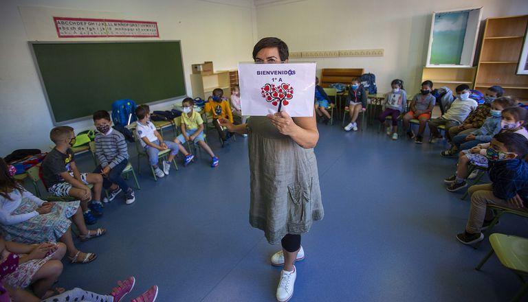 El aula de Milan en el colegio Paderborn, en Pamplona, en el primer día de clase.