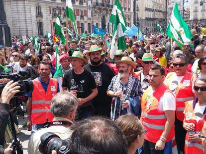Un momento de la concentración para pedir la liberación de Andrés Bódalo, este domingo en Madrid.