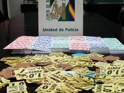 Boletos ilegales incautados por la policía en la provincia de Cádiz.