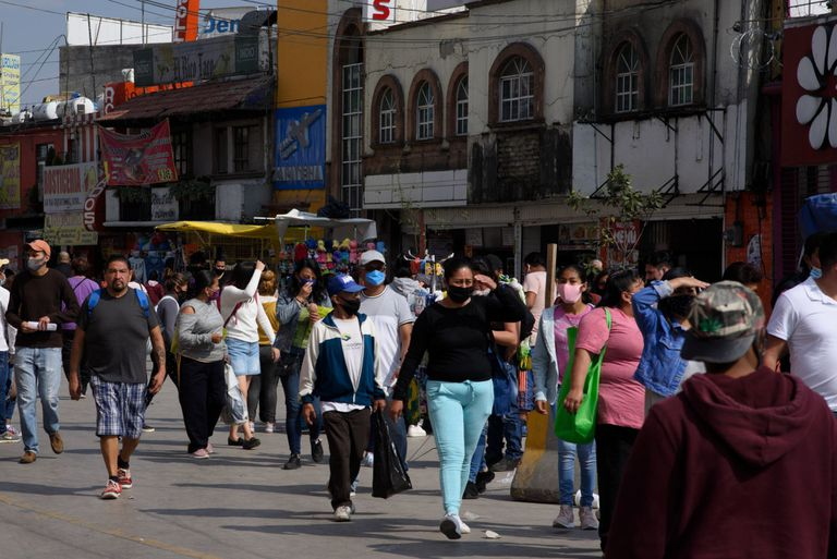 People walk through the center of the municipality of Naucalpan (State of Mexico).