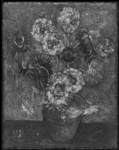 Imagen de rayos X de la copia de 'Los girasoles' de la National Gallery.