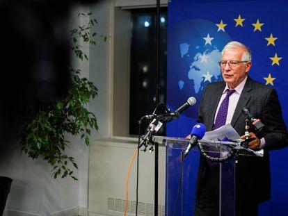 Josep Borrell, en una rueda de prensa en Nueva York este septiembre.