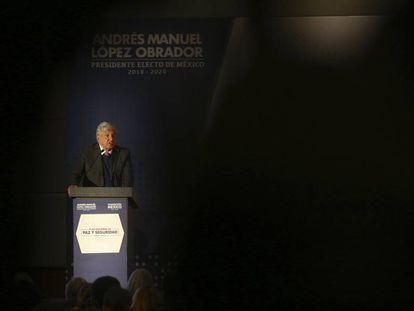 López Obrador durante la presentación de su estrategia de seguridad.