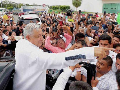 Andrés Manuel López Obrador, en una gira por el Estado de Tabasco.