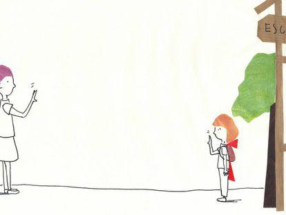 Una de las ilustraciones de 'Caperucita y el CovidLobo'.
