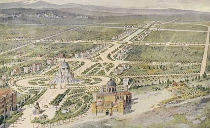 Dibujo con la ampliación de una Castellana extendida hasta la futura plaza de Castilla presentado en 1916.