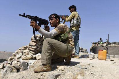Soldados afganos, en un ataque al Estado Islámico.