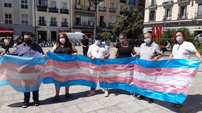 Representatives of LGTBI groups, on June 7 in the Plaza de Pedro Zerolo, in the Madrid neighborhood of Chueca.