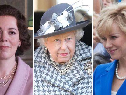 Olivia Colman como Isabel II; la soberana, el pasado día 19; y Naomi Watts como la princesa Diana.