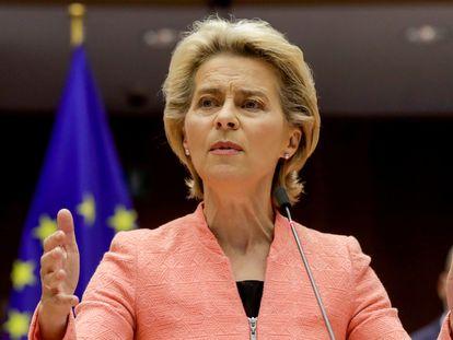 La presidenta de la Comisión Europea, Ursula von der Leyen, este martes, en Bruselas.