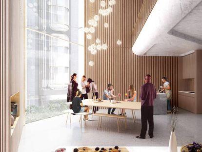 Prototipo del proyecto de Co-living que Foster + Partners ha desarrollado para la ciudad de Qianhai. |