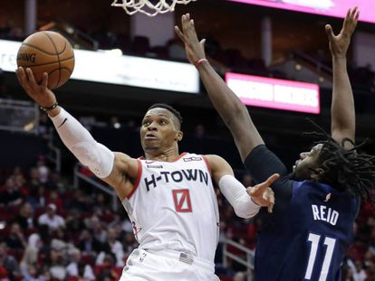Russell Westbrook, en el duelo entre Houston Rockets y Minnesota Timberwolves