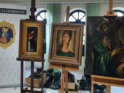 Las tres obras falsas, de Modigliani, El Greco y Goya, que iban a venderse por 12,5 millones en el mercado negro.