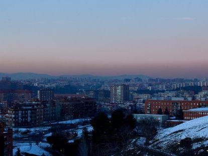 Capa de contaminación sobre Madrid en una imagen del 18 de enero.