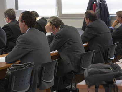 Los acusados Joaquín Maldonado, José Antonio Noguera, Ernesto Moreno y Pablo Broseta, este jueves en la Audiencia de Valencia.