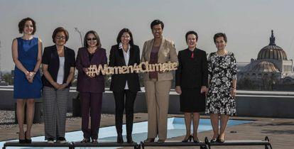 Anne Hidalgo, con las alcaldesas del C40 en Ciudad de México.