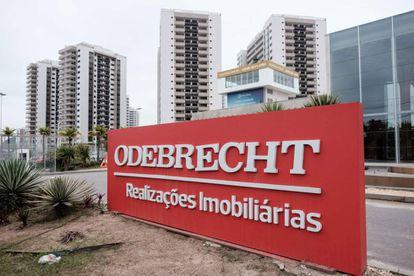 Un cartel de la constructora Odebrecht en la ciudad de Río de Janeiro.