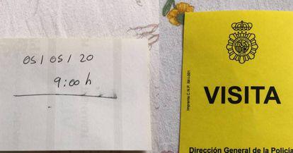 En el resguardo que recibió el lunes Amín Mejía, venezolano de 43 años, la policía escribió a mano su cita: 5 de mayo de 2020 a las 09:00 horas.