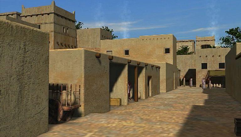 Recreación de una de las calles del asentamiento fenicio del cerro del Villar.