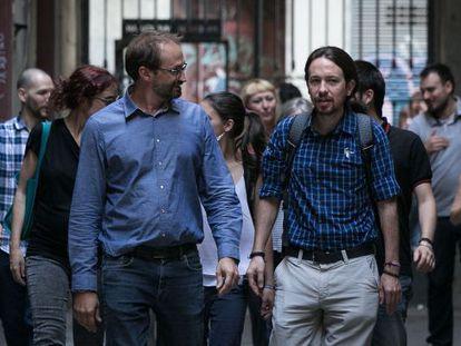 Joan Herrera y Pablo Iglesias en una imagen de archivo.