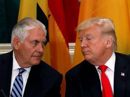 El presidente de EE UU, Donald Trump, junto al secretario de Estado, Rex Tillerson, en las Naciones Unidas, el pasado 20 de septiembre.