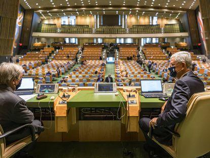 Vista de la Asamblea General de la ONU desde la presidencia.